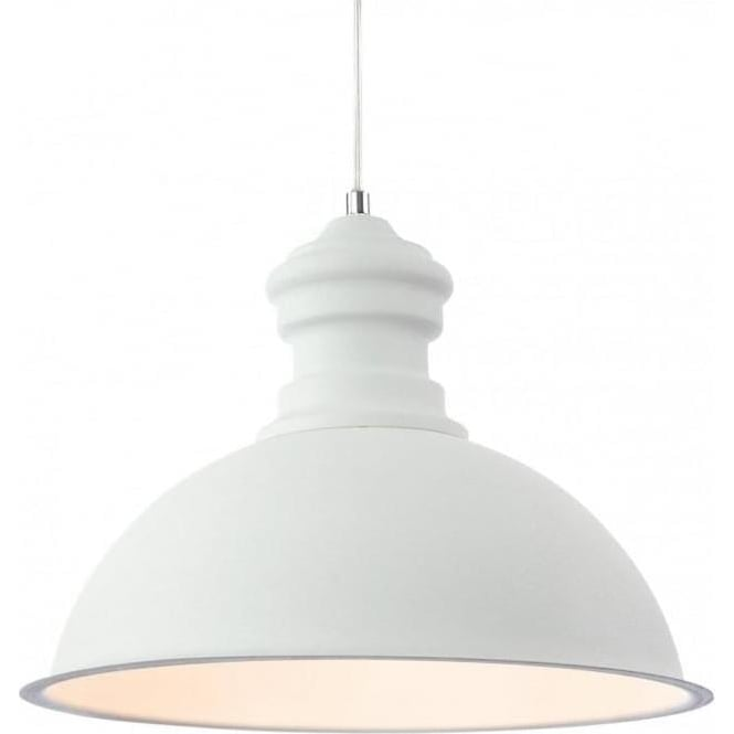 2307WH Aztec 1 Light Ceiling Pendant Rough Sand White