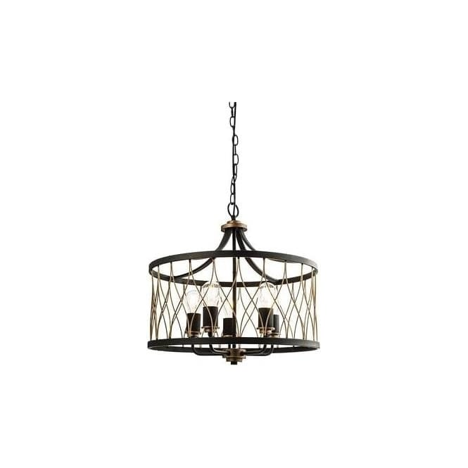 Endon 61498 Heston 5 Light Ceiling Pendant Black/Bronze