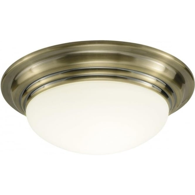 Dar BAR5075 Barclay 1 light modern bathroom ceiling light flush antique brass finish (large) ip44 rated