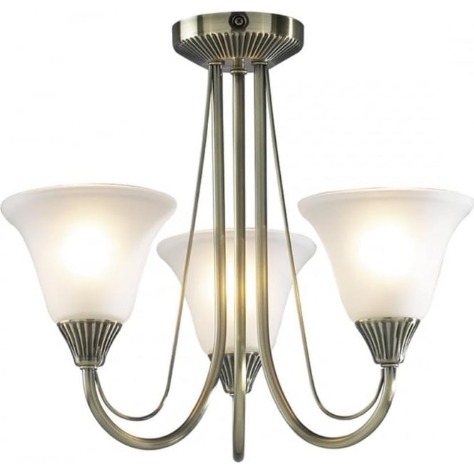 Dar BOS03 Boston 3 Light Traditional Ceiling Light Antique Brass Finish Complete With Acid Etched Glass
