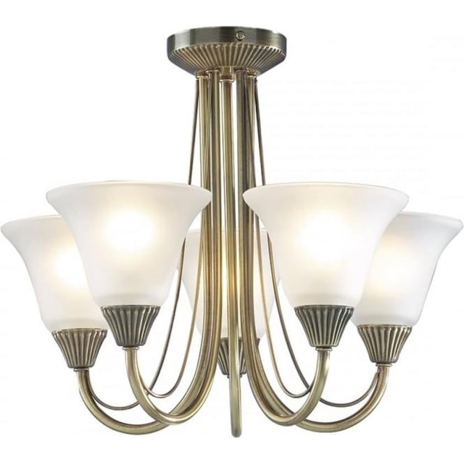 Dar BOS05 Boston 5 Light Traditional Ceiling Light  Antique Brass Finish Complete With Acid Etched Glass Shades