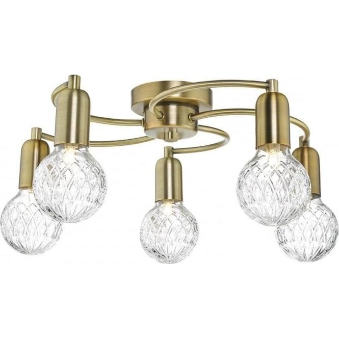 Dar WRE5475 Wrexham 5 Light Ceiling Light Antique Brass