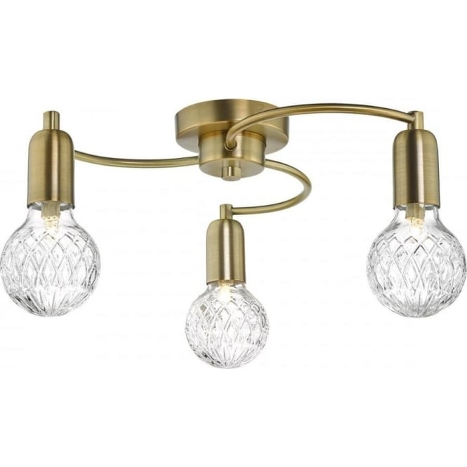 Dar WRE5375 Wrexham 3 Light Ceiling Light Antique Brass