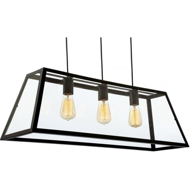 FirstLight 3438BK Kew 3 Light Ceiling Pendant Black