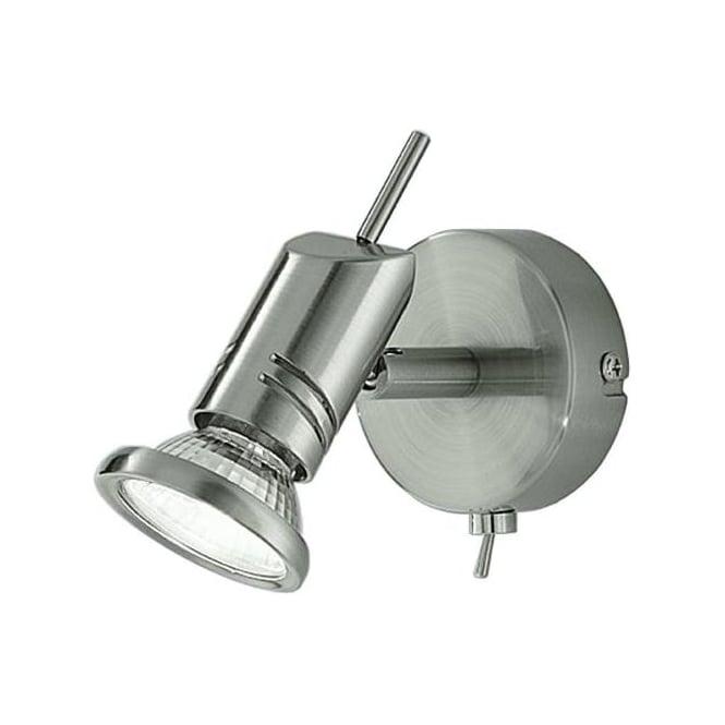 Franklite SPOT8881 Scintilla 1 Light Switched Wall Spotlight Satin Nickel