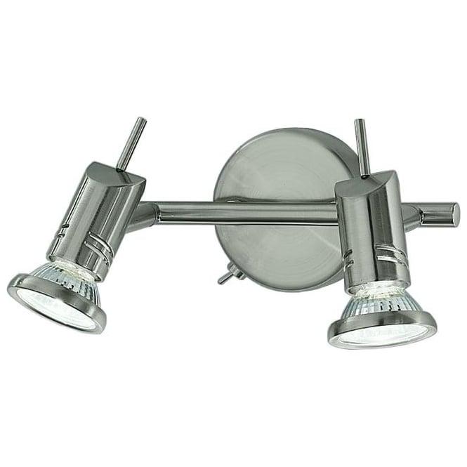 Franklite SPOT8882 Scintilla 2 Light Switched Wall Spotlight Satin Nickel