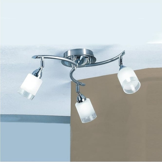 Franklite DP40023 Campani 3 Light Ceiling Light Satin Nickel and Chrome