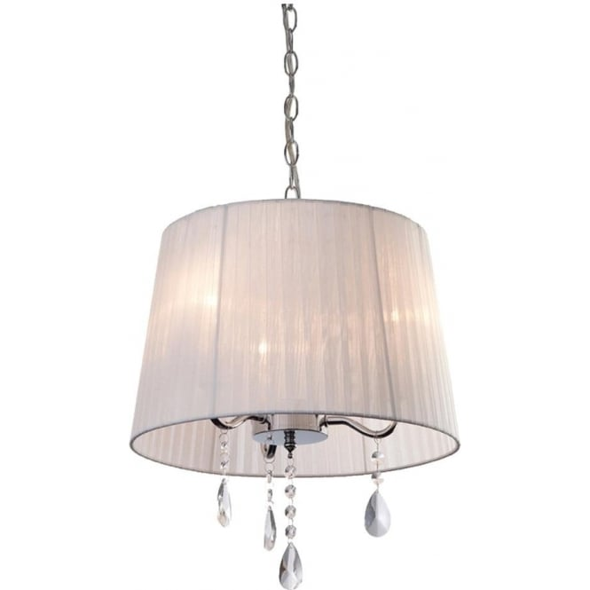 FirstLight 8308WH Organza 3 Light Pendant Polished Chrome