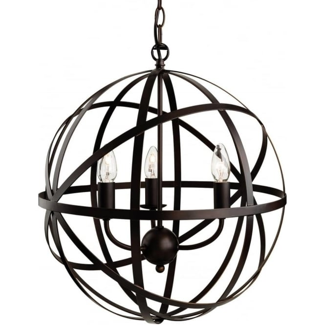 FirstLight 3437ABN Castle 3 Light Pendant Antique Brown