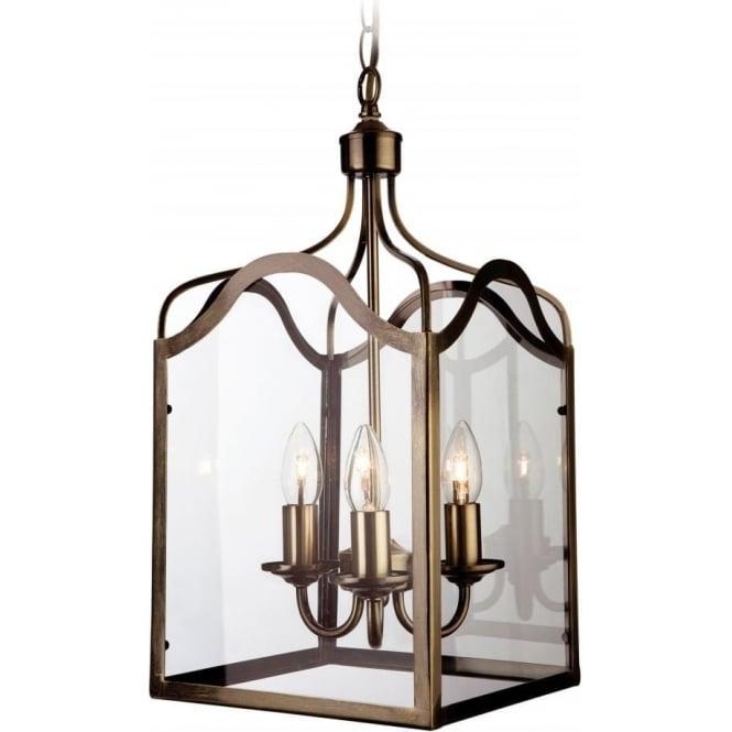 FirstLight 8638AB Monarch 3 Light Lantern Pendant Antique Brass