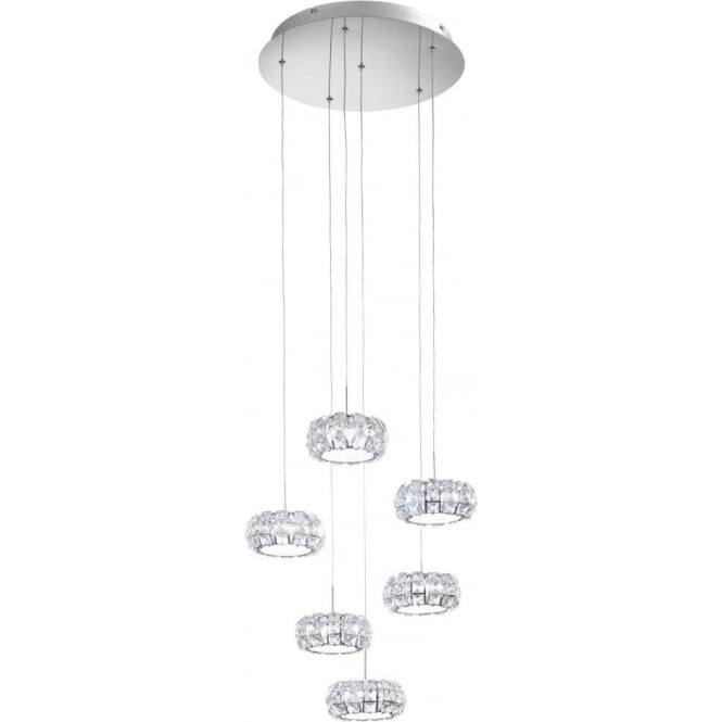 Eglo 39008 Corliano 6 Light LED Ceiling Pendant Polished Chrome
