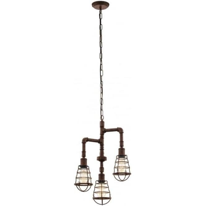 Eglo 49808 Port Seton 3 Light Ceiling Pendant Antique Brown