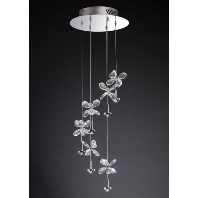 Diyas IL31141 Aviva 6 Light Ceiling Pendant Polished Chrome