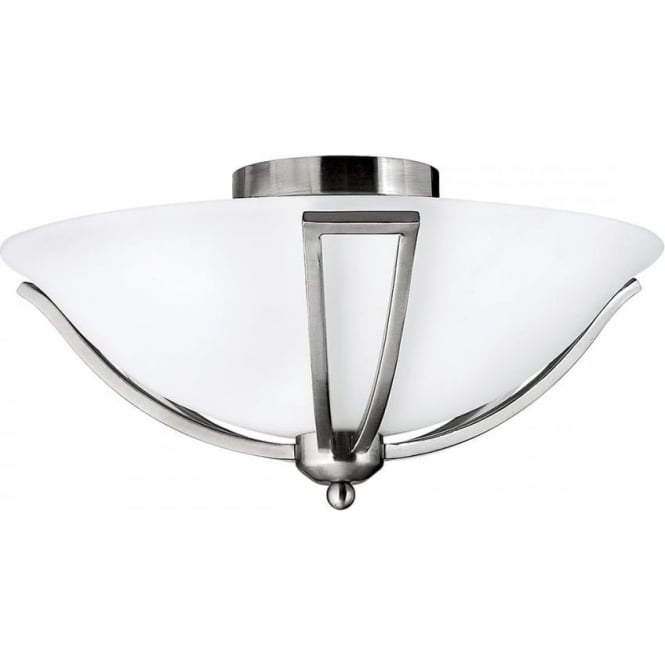 Elstead Hinkley HK/BOLLA/F Bolla 2 Light Semi-Flush Ceiling Light Brushed Nickel