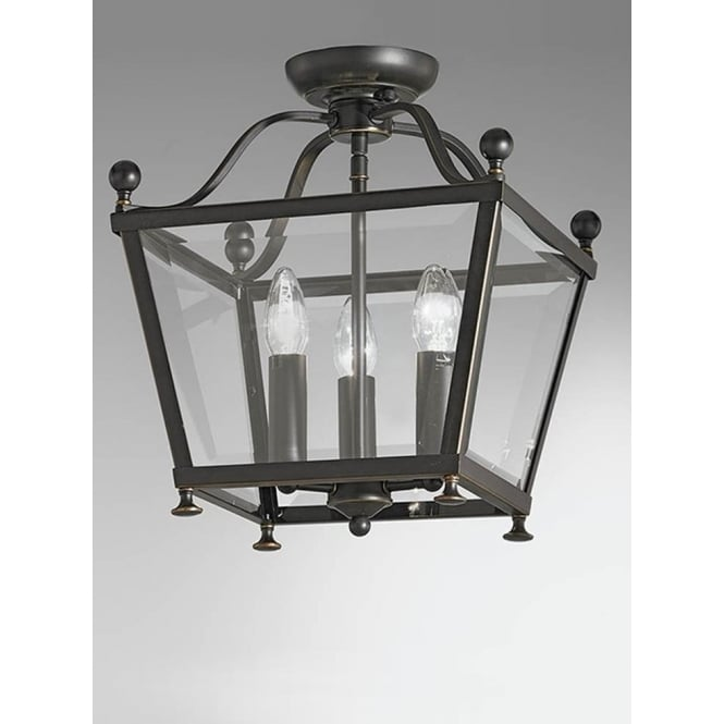 Franklite LA7004/3 Atrio 3 Light Ceiling Lantern Antique Bronze
