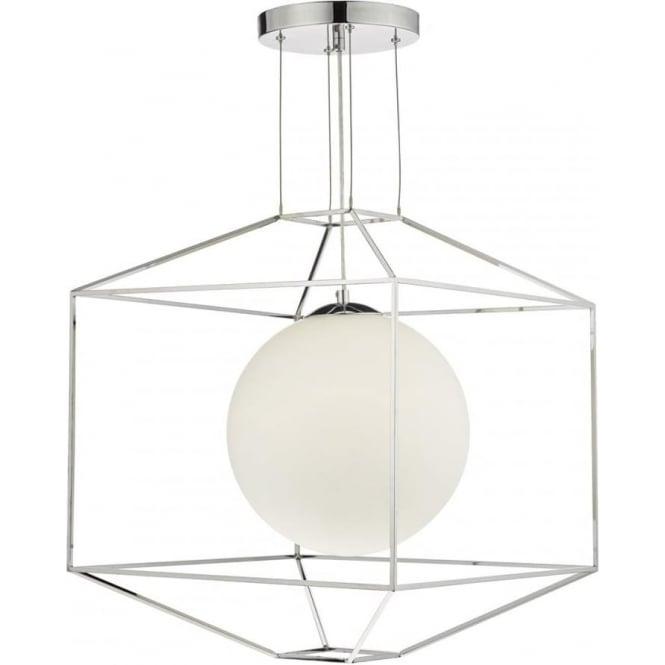 Dar YAN0150 Yannis 1 Light Ceiling Pendant Polished Chome