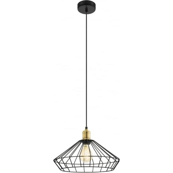 Eglo 49788 Denham 1 Light Ceiling Pendant Black