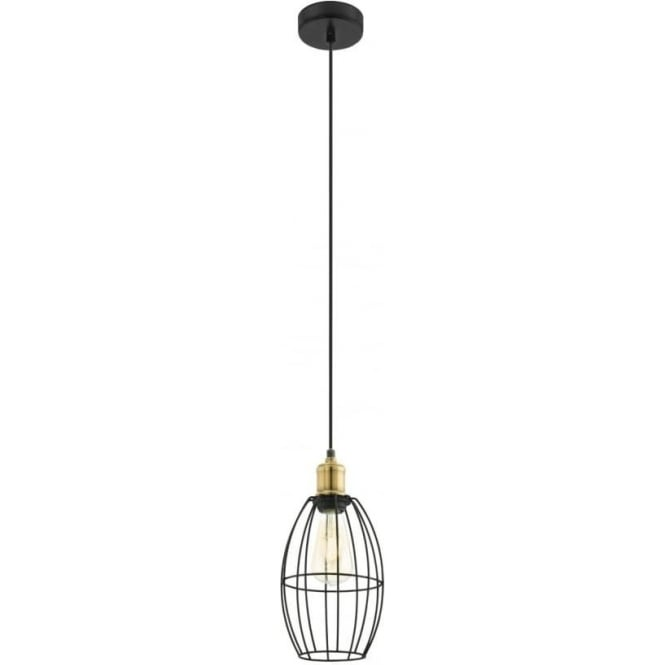 Eglo 49789 Denham 1 Light Ceiling Pendant Black