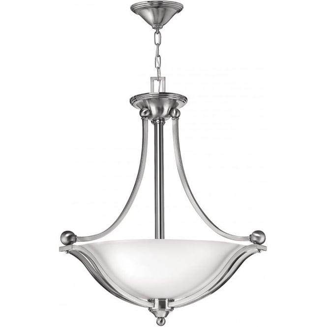 Elstead Hinkley HK/BOLLA/P/A Bolla 3 Light Ceiling Pendant Brushed Nickel