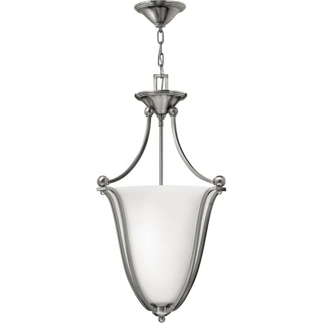 Elstead Hinkley HK/BOLLA/P/B Bolla 3 Light Ceiling Pendant Brushed Nickel