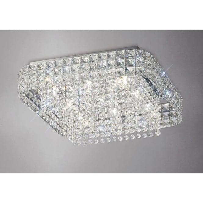 Diyas IL31153 Edison Square 9 Light Crystal Flush Ceiling Light Polished Chrome