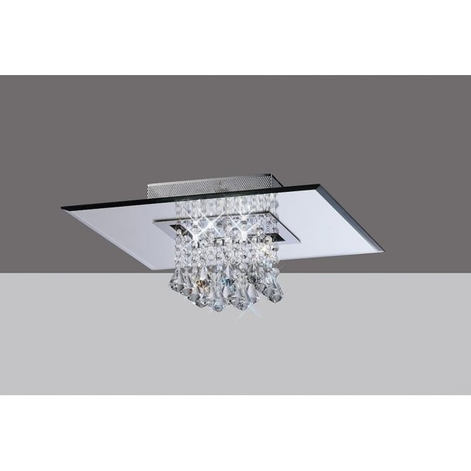 Diyas IL31004 Starda Square 5 Light Crystal Semi-flush Ceiling Light Polished Chrome