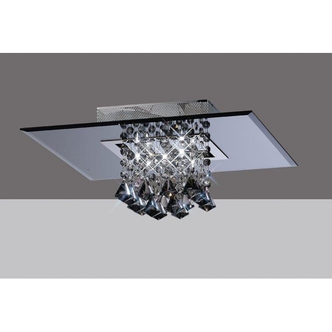 Diyas IL31002 Starda Square 5 Light Crystal Semi-flush Ceiling Light Polished Chrome/Smoked Mirror