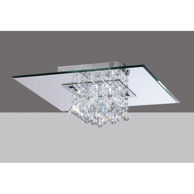Diyas IL31008 Starda Square 8 Light Crystal Semi-flush Ceiling Light Polished Chrome
