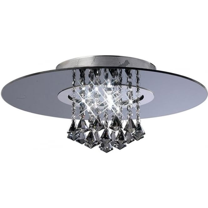 Diyas IL31005 Starda Round 8 Light Crystal Semi-flush Ceiling Light Polished Chrome/Smoked Mirror