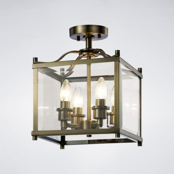Diyas IL31111 Aston 4 Light Semi-Flush Lantern Antique Brass