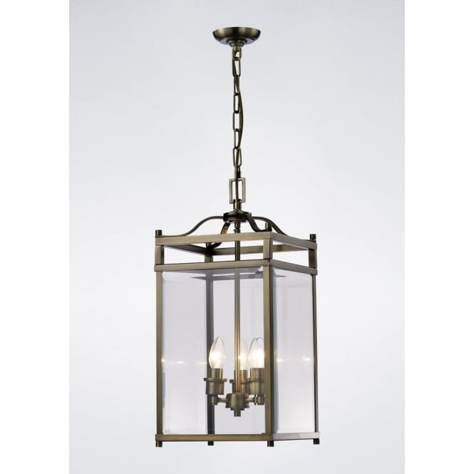 Diyas IL31112 Aston 3 Light Lantern Pendant Antique Brass