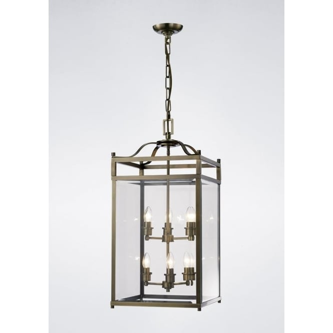Diyas IL31114 Aston 6 Light Lantern Pendant Antique Brass
