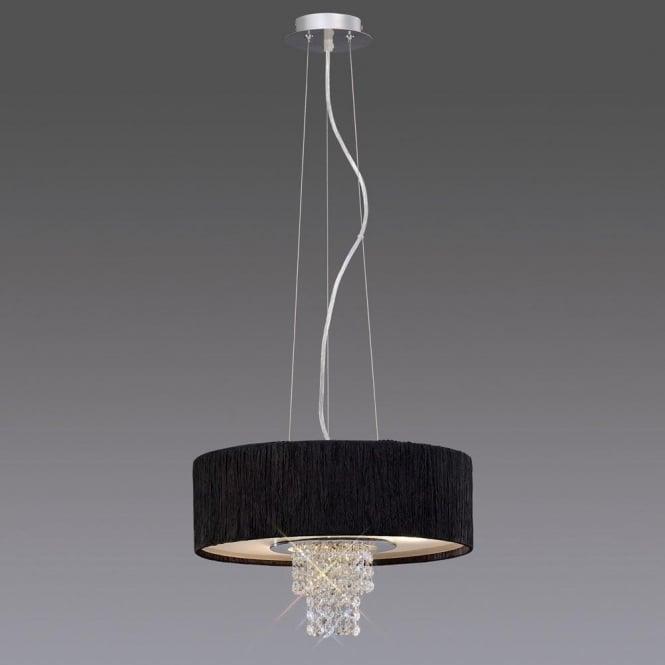 Diyas IL30272/BL Nerissa 4 Light Ceiling Pendant with Black Shade