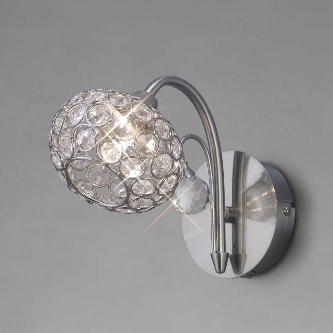 Diyas IL30931 Cara 1 Light Switched Crystal Wall Light Satin Nickel
