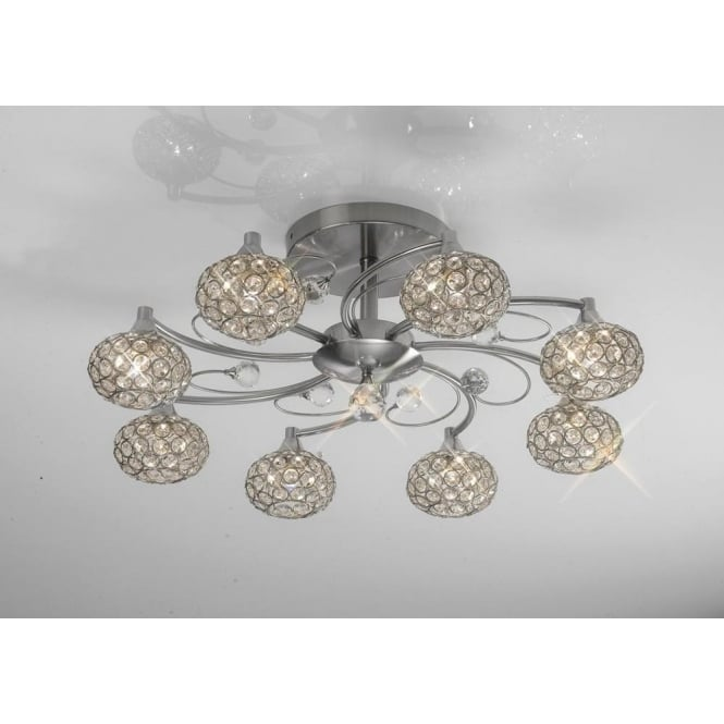 Diyas IL30938 Cara 8 Light Crystal Semi-flush Ceiling Light Satin Nickel