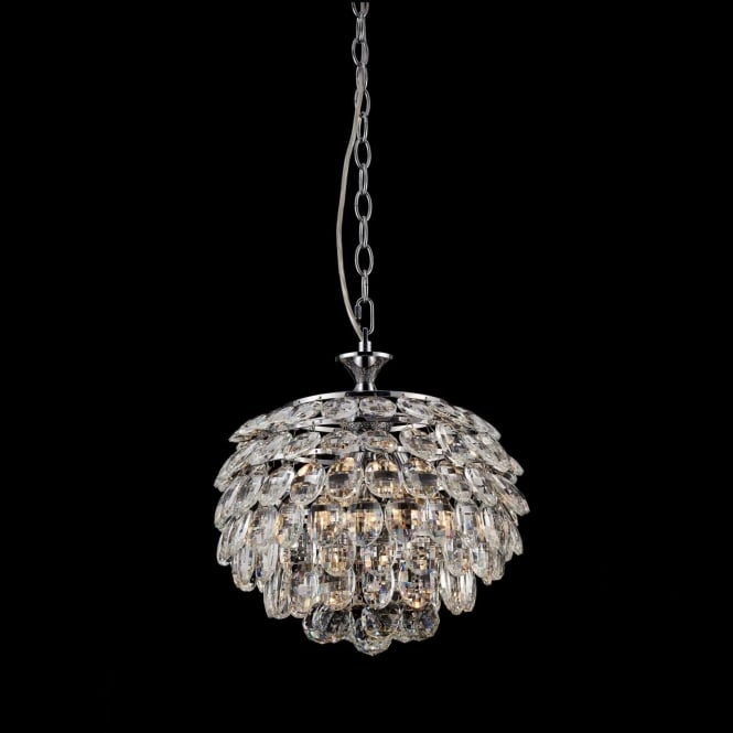 Impex Russell CF311201/03/CH Adaliz 3 Light Crystal Ceiling Pendant Polished Chrome