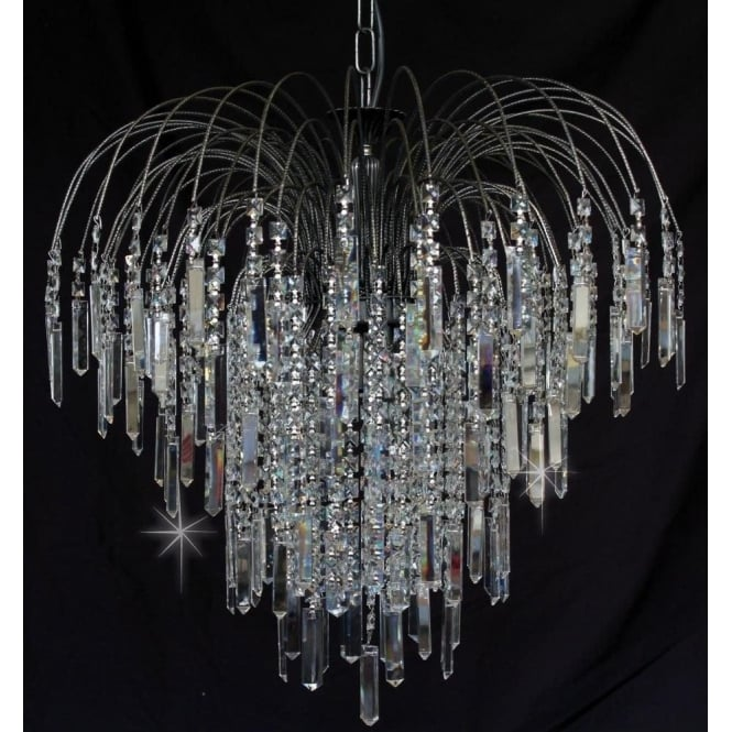 Impex Russell ST01700/60/06/AN Shower Coffin 6 Light Crystal Pendant Antique Nickel
