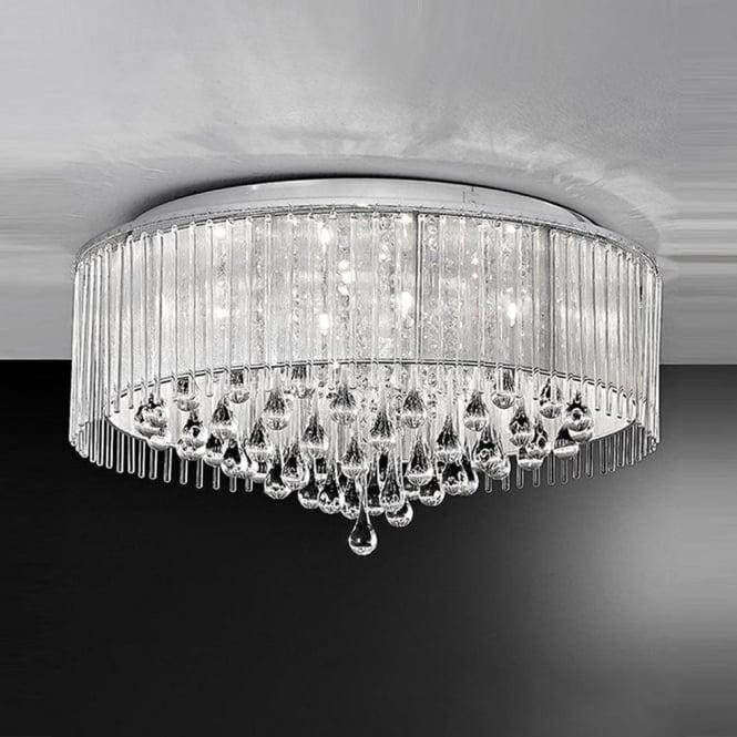 Franklite FL2160/8 Spirit 8 Light Crystal Ceiling Light Polished Chrome