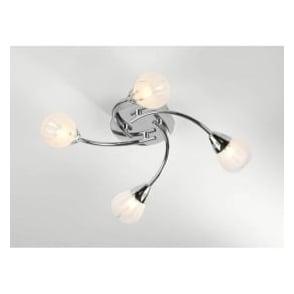 VIL0450 Villa 4 light modern flush ceiling light acid etched glass polished chrome finish