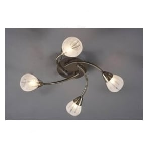 VIL0475 Villa 4 light modern flush ceiling light acid etched glass antique brass finish