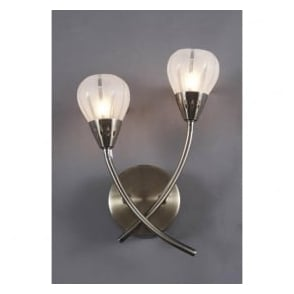 VIL0975 Villa 2 light modern wall light acid etched glass antique brass finish