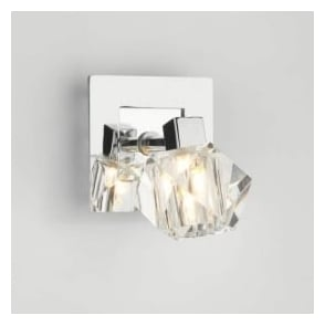 GEO0750 Geo 1 light modern wall light spotlight crystal and polished chrome finish (switched)