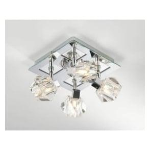 GEO8550 Geo 4 light modern ceiling light spotlight crystal and polished chrome finish