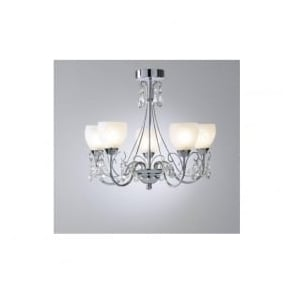 CRA0550 Crawford 5 light modern bathroom ceiling light polished chrome finish ip44 rated