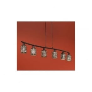 89114 Almera 6 light modern pendant ceiling light champagne glass antique brown finish