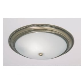 91121 2 Light Traditional Flush Ceiling Light IP20 Rated Opal Glass Antique Brass Finish