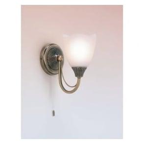 601-1AN 1 Light Switched Wall Light Antique Brass