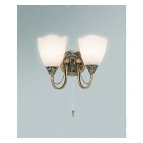 601-2AN 2 Light Switched Wall Light Antique Brass