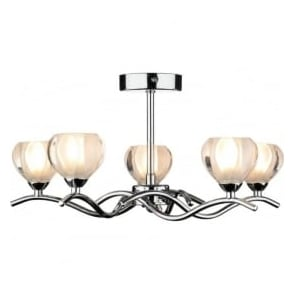 CYN0550 Cynthia 5 light modern ceiling light opal glass and polished chrome finish