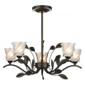 PRU0563 Prunella traditional 5 light semi flush ceiling light bronze finish with opal/clear glass shades